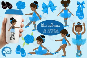 Ballerinas in blue clipart AMB-1946
