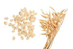 oat spike with oat flakes isolated on white background. Top view