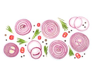 Sliced red onion with rosemary and peppercorns isolated on white background with copy space for your text. Top view