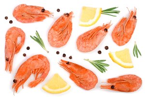 Red cooked prawn or shrimp with rosemary and lemon slice isolated on white background. Top view. Flat lay