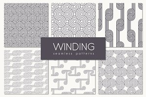 Winding Seamless Patterns. Set 1