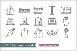 Minimal memorial icons
