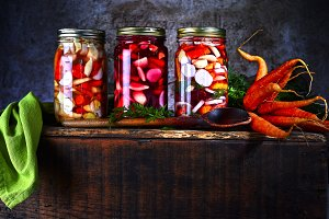 Fresh Cut Vegetables in Glass Jars