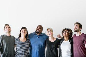 Happy diverse friends (PSD)