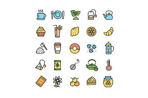Tea Ceremony Line Icon Set. Vector