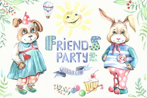 Friends party. Watercolor clipart.