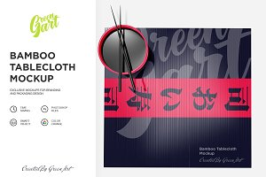 Bamboo Tablecloth Mockup - Top View