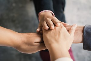 Hands of business teamwork