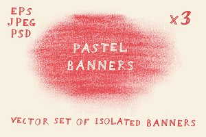3 Isolated Pastel Banners