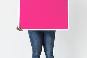 Black woman holding black board(PSD)