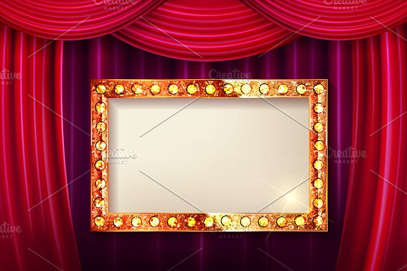 Gold Frame With Light Bulbs