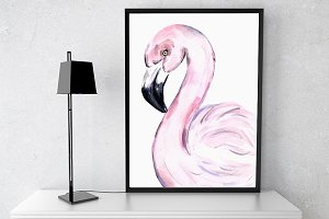 Watercolor Flamingo Print + Clip Art