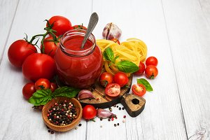 Jar with tomato sauce