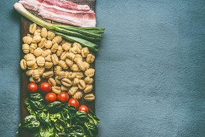 Ingredients for Potato gnocchi dish
