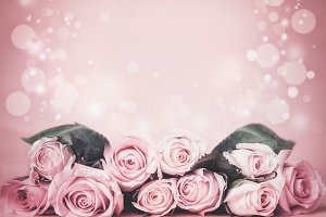 Pink floral background with roses