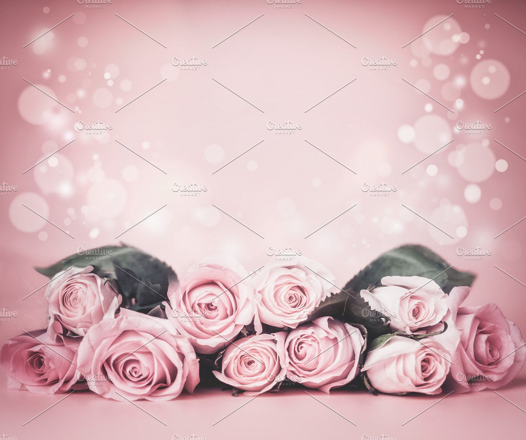 Pink Floral Background With Roses High Quality Arts