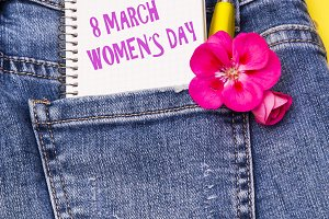 greeting card of woman's day in blue