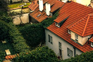 the roofs of the Prague houses