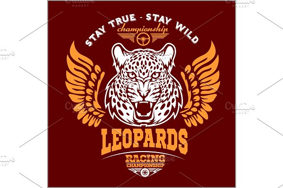 Leopards Custom Motors Club T-shirt Vector Logo On Dark Background Premium Quality Bikers Band Logotype T-shirt Emblem Illustration