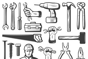 Vintage Repair Workshop Icon Set
