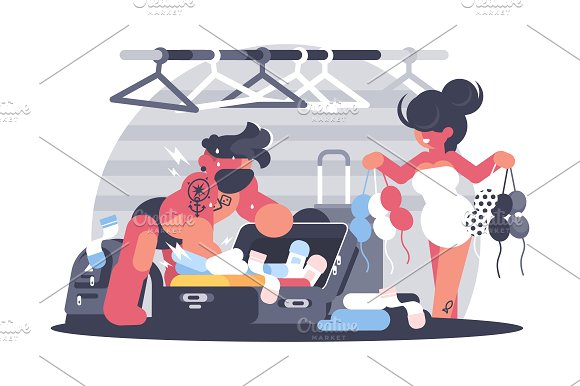 Man And Woman Packing Suitcase