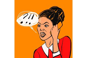 Angry brunette woman with mobile phone and text bubble. Vector illustration.