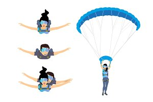Set of skydivers parachutist characters. Skydiver man and woman flying. Tandem skydiving.