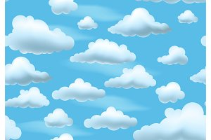 Clouds on blue sky. Seamless pattern.