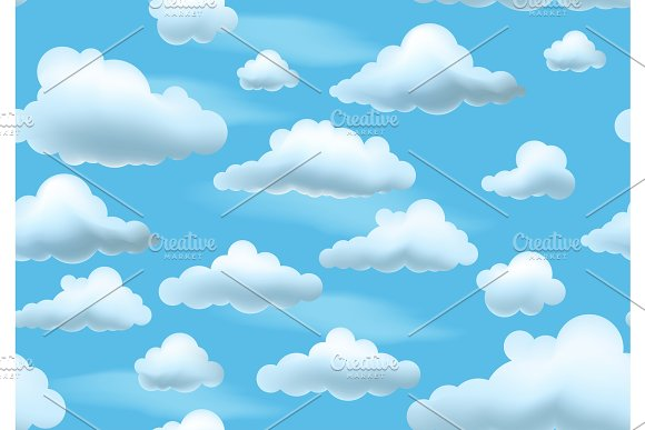 Clouds On Blue Sky Seamless Pattern