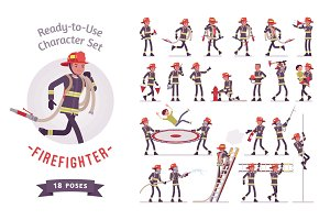 Male firefighter ready-to-use character set