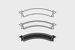 Set of Three Outline Flat Ribbons
