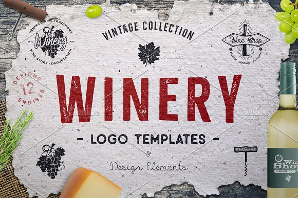 Winery Logo Designs Wine Elements