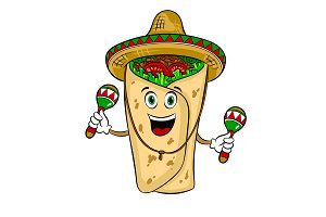 Burrito and maraca pop art vector illustration