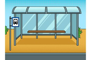 Bus stop cartoon pop art vector illustration