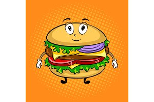 Burger cartoon pop art vector illustration