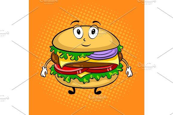 Burger Cartoon Pop Art Vector Illustration