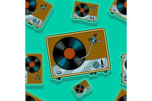 Record player turntable seamless vector