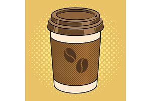 Coffee cup pop art vector illustration