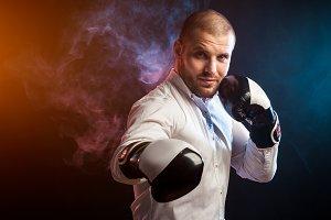 Man  in white shirt boxing