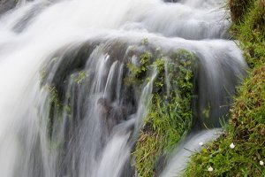 Small Waterfall with Rocks and Moss