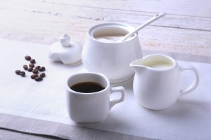 Cup of hot coffee espresso,