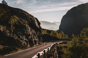 Road down the Mountain in Summer