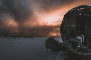 Plane Wreck and Winter Sunset