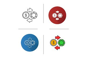 Gambling chips and cash money exchange icon