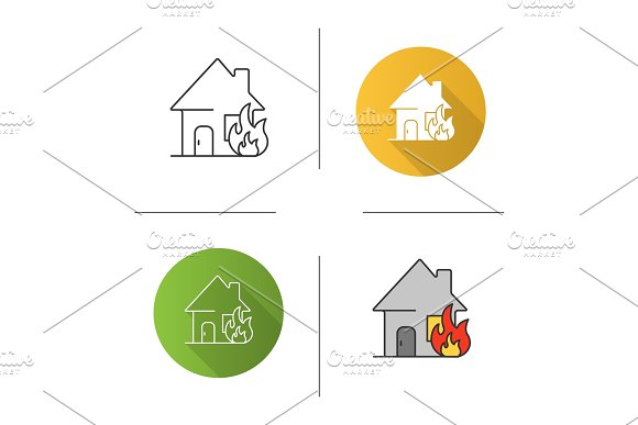 Burning house icon