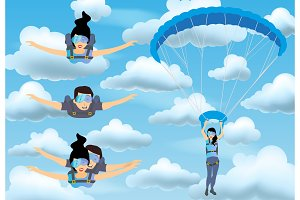 Set of skydivers parachutist characters. Skydiver man and woman flying in the blue cloudy sky. Tandem skydiving.