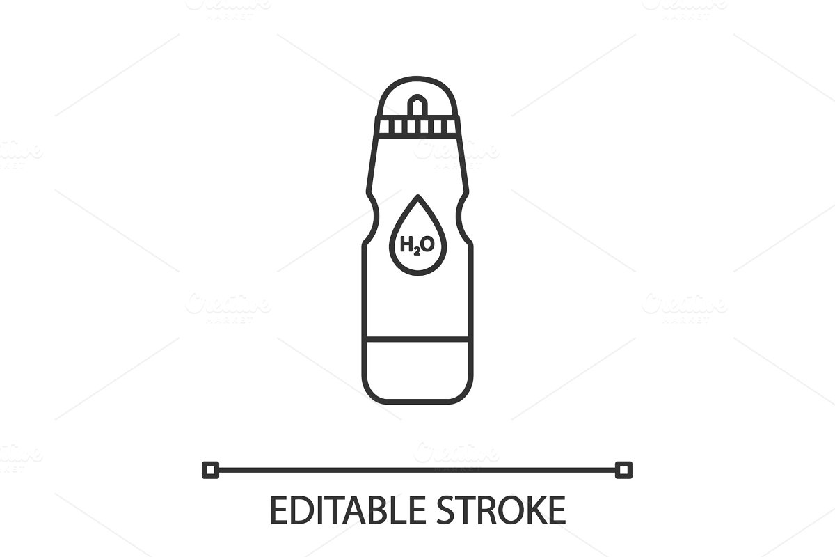 Sports water bottle linear icon in Icons - product preview 8