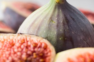 Macro shot of a whole purple fig