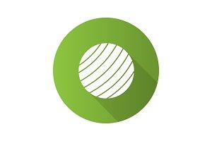 Fitness ball flat design long shadow glyph icon