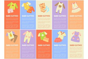 Baby Clothes Set with Text Vector Illustration